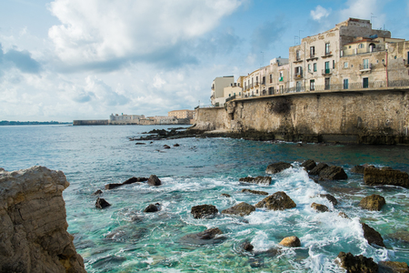 fortified wall: Syracuse Ortigia seafront and fortified wall, Sicily, Italy