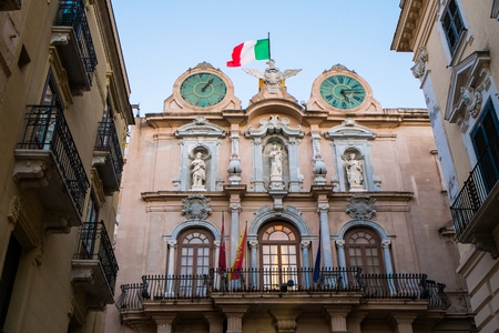 trapani: Town hall on Palazzo Cavarretta in Trapani, Sicily, Italy Stock Photo