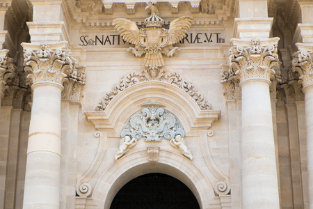 syracuse: Architecture detail of the Cathedral in Syracuse Ortigia, Sicily, Italy