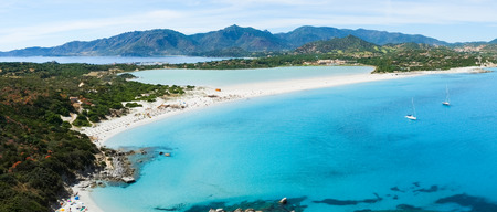 Aerial view of Villasimius  and Porto Giunco beach, Sardinia, Italy Stock Photo