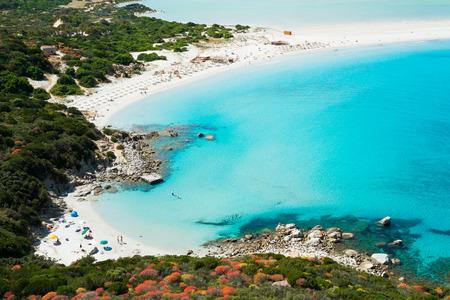 sardinia: Aerial view of Villasimius  and Porto Giunco beach, Sardinia, Italy Stock Photo