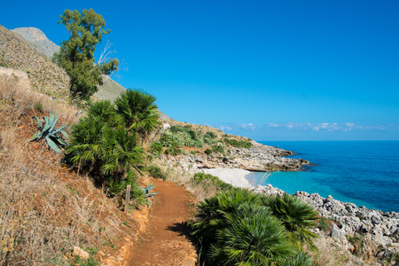 Coast and trekking trail in Zingaro natural reserve between San Vito and Scopello, Sicily, Italy