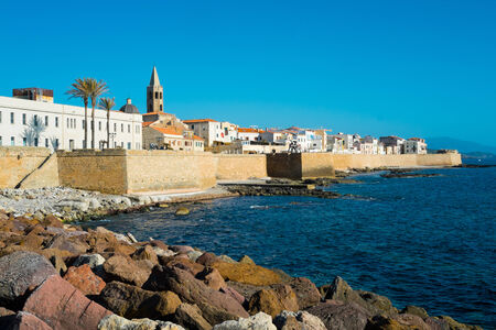 Downtown Alghero, Sardinia, Italy Stock Photo