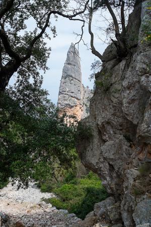 Aguglia rock pinnacle in goloritze beach, Baunei, Sardinia, Italy Stock Photo