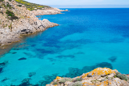 Blue sea in Asinara island in Sardinia, Italy