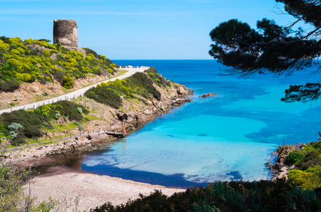 Beach and spanish tower in Asinara island, Sardinia, Italy Archivio Fotografico