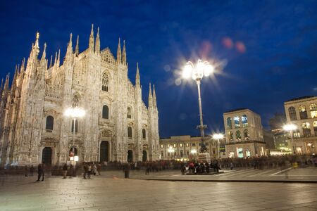Milan cathedral with duomo square in the evening, Italy
