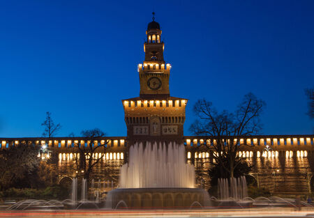 sforzesco: Sforzesco Castle by night in Milan, Italy