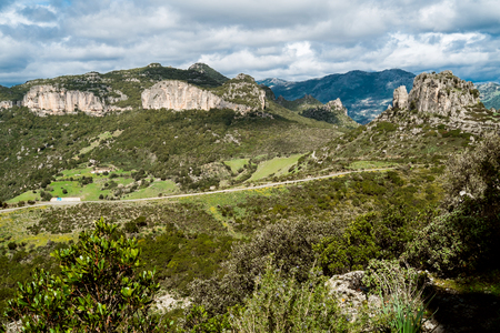 WIld landscape with rock formations close to Jerzu, Sardinia, Italy