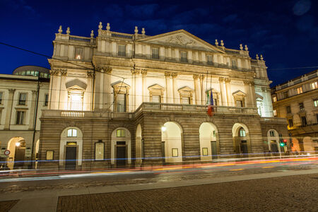 La Scala theater in the evening in Milan, Italy