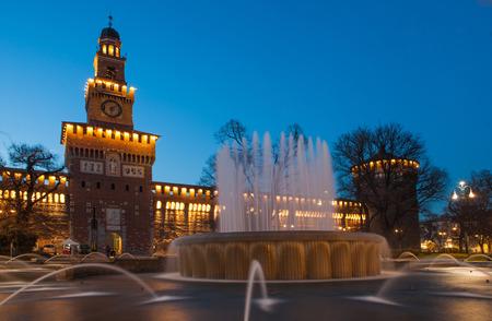 Sforza-kastély éjszaka, Milánó, Olaszország Stock fotó
