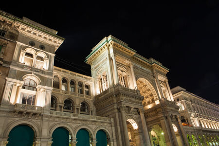 vittorio emanuele: Vittorio Emanuele Gallery by night in Milan, Italy