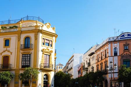 Typical buildings in Barrio Santa Cruz in Seville, Andalusia, Spain