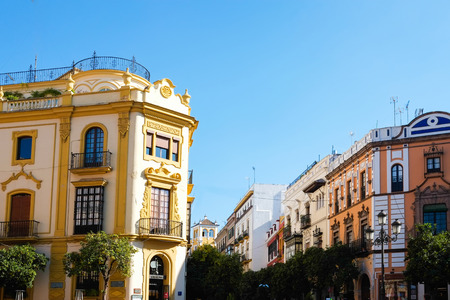 Typical buildings in Barrio Santa Cruz in Seville, Andalusia, Spain