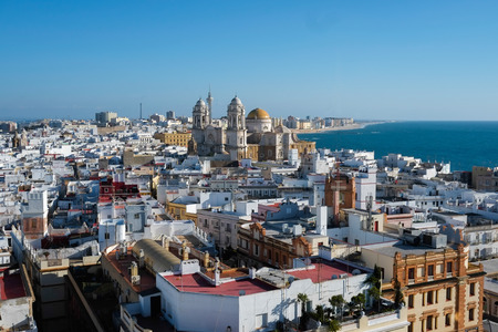 Aerial view of Cadiz from Torre Tavira, Andalucia, Spain