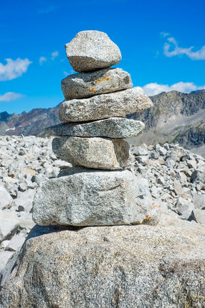 sud tirol: Cairn close to Vedrette di Ries, Valle Aurina, South Tirol, Italy
