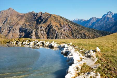 frozen lake: Frozen mountain lake in Val di Scalve, Alps montains, Italy Stock Photo