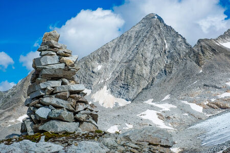 Cairn close to Vedrette di Ries, Valle Aurina, South Tirol, Italy