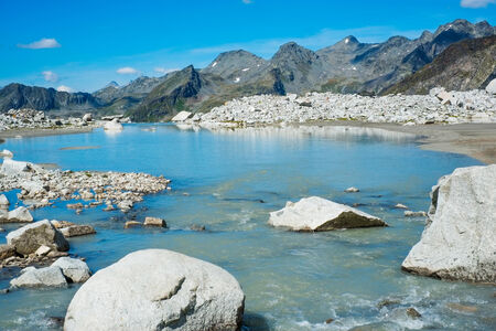 sud tirol: Mountain lake close to Vedrette di Ries, Valle Aurina, South TIrol, Italy Stock Photo