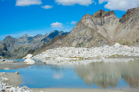 Mountain lake close to Vedrette di Ries, Valle Aurina, South TIrol, Italy Stock Photo