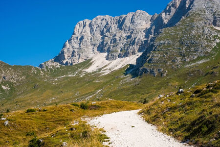 sella: Hiking trail on altopiano di Montasio, Sella Nevea, Italy