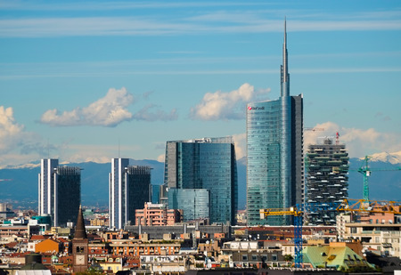 at milan: Aerial view of new modern buildings in Milan Stock Photo