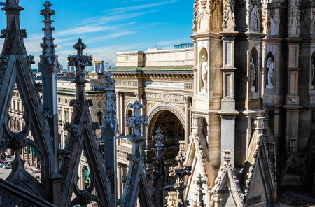 steeples: Steeples of Duomo and Galleria Vittorio Emanuele from dome roof, mIlan
