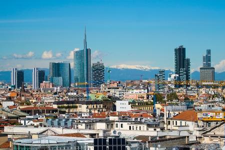 Aerial view of new modern buildings in downtown milan