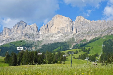 chairlift: Catinaccio mountain range with chairlift from Carezza pass, Dolomites, Italy