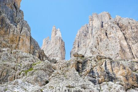 Rocky peaks in Dolomites, Val di Fassa, Italy