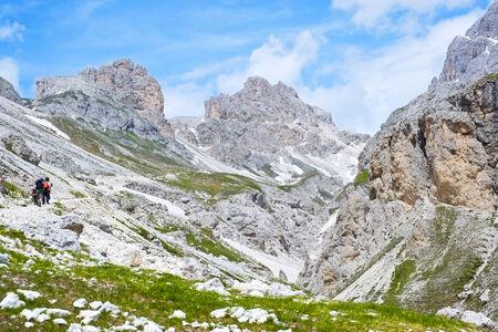fassa: Trail to Principe refuge in Dolomites, Val di Fassa, Italy