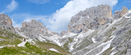 fassa: Catinaccio in Dolomites, Val di Fassa, Italy Stock Photo
