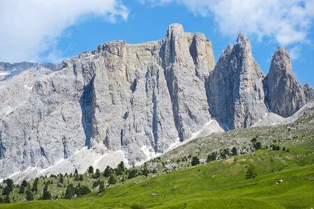 sella: Sella mountain range from Sella pass, Dolomites, Italy