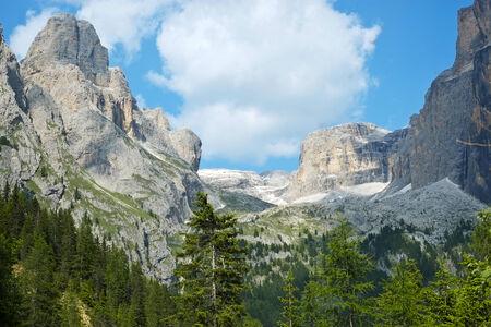 sella: Sella mountain range and Sass Pordoi in Dolomites, Italy Stock Photo