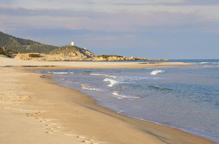 south coast: Chia beach on south coast of Sardinia, Italy Stock Photo