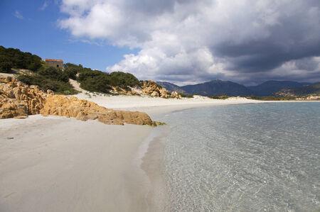 south coast: Beach in Villasimius, south coast of Sardinia, Italy Stock Photo