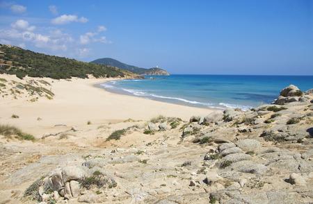 south coast: Chia beach with nobody, South coast of Sardinia, Italy