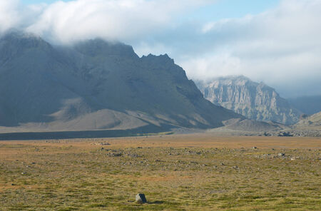 View of mountains from road Number One, south of Vatnajokull glacier, Iceland