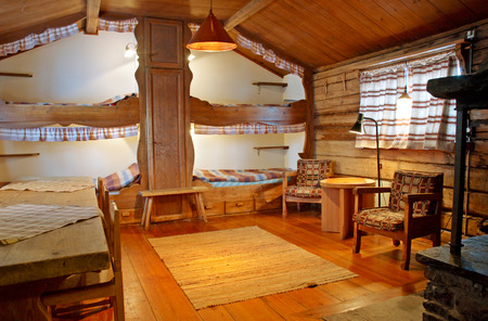Interior of mountain hut made of wood in Valadalen, North of Sweden Editoriali