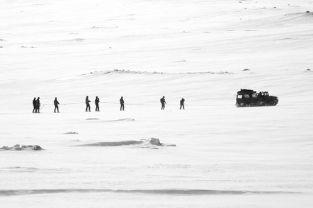 dragging: Snowcat dragging skiers on the mountains, Jamtlands region, North of Sweden Stock Photo