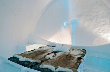 Icehotel in Jukkajarvi, Kiruna, north of Sweden Stock Photo