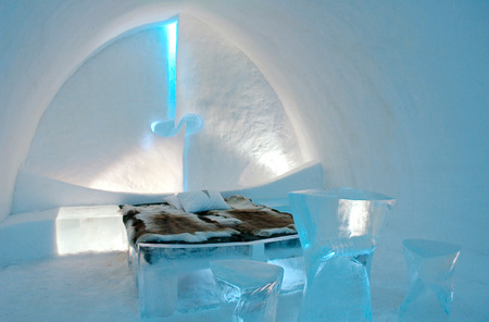 Icehotel in Jukkajarvi, Kiruna, north of Sweden 스톡 콘텐츠