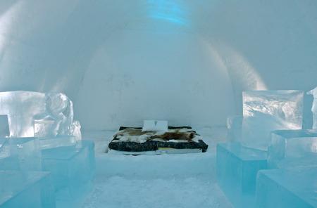 Icehotel in Jukkajarvi, Kiruna, north of Sweden Archivio Fotografico