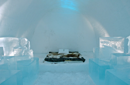 artic circle: Icehotel in Jukkajarvi, Kiruna, north of Sweden Stock Photo