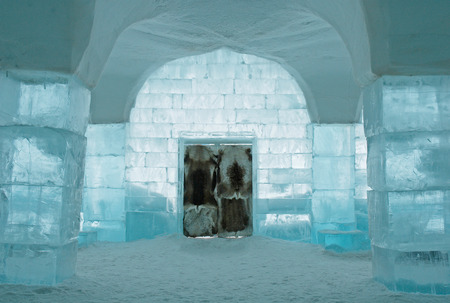 artic circle: Icehotel in Jukkajarvi, Kiruna, north of Sweden Editorial