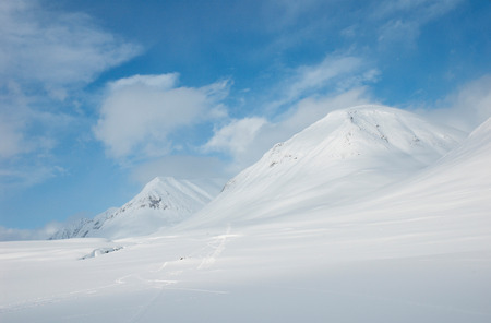 artic circle: Snowy mountains in Kungsleden, Lapland, North of Sweden