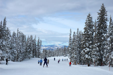 skiers: Skiers on a slope in Steamboat Springs, Colorado, Usa