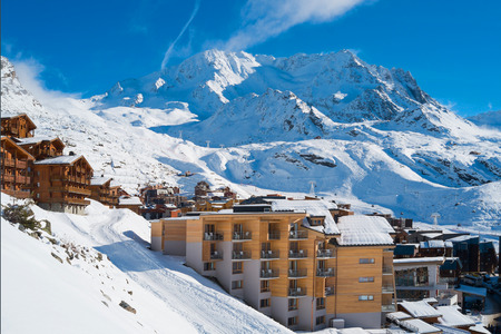 Val Thorens ski resort on the Alps mountains, France