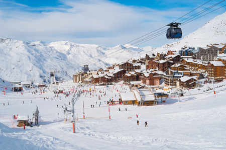 france: Aerial view of Val Thorens, trois vallees complex, France