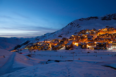 val: Panorama of Val Thorens by night, Alps mountains, France
